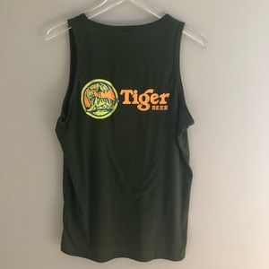 Vintage Tiger Beer Tank Top Shirt Green Brewery